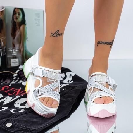 Papuci Dama cu Platforma WLGH29 Alb Mei