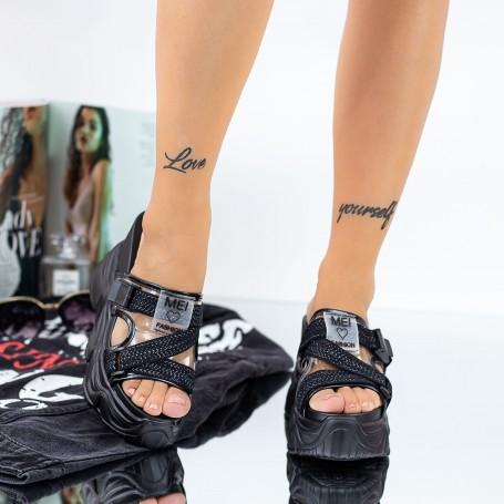 Papuci Dama cu Platforma WLGH29 Negru Mei