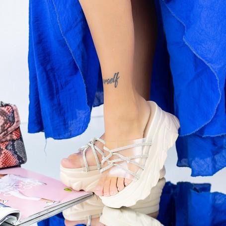 Papuci Dama cu Platforma WLGH35 Bej Mei