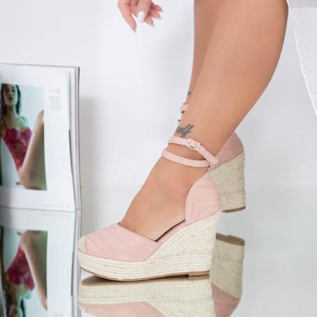 Sandale Dama cu Platforma LE219 Roz Mei