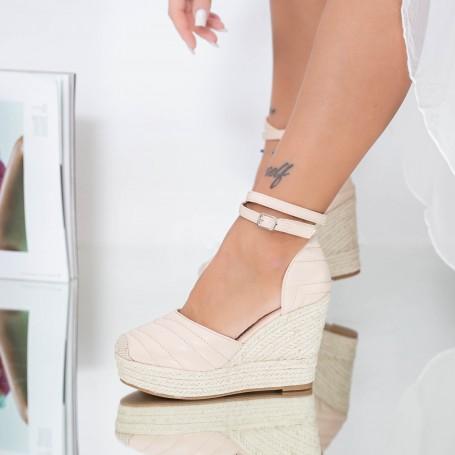 Sandale Dama cu Platforma LE219 Bej Mei