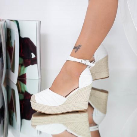 Sandale Dama cu Platforma LE219 Alb Mei
