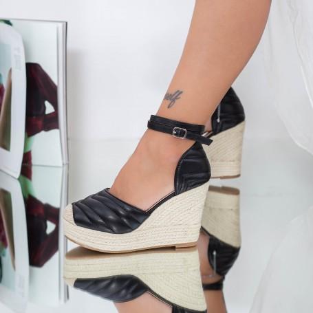 Sandale Dama cu Platforma LE219 Negru Mei