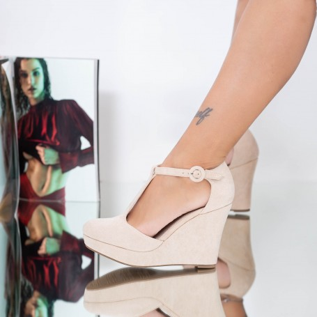 Sandale Dama cu Platforma TY8 Bej Mei
