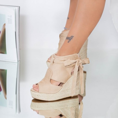 Sandale Dama cu Platforma FS33 Bej Mei