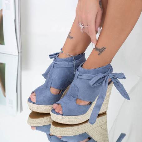 Sandale Dama cu Platforma FS33 Albastru Mei