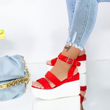 Sandale Dama cu Platforma GY10 Rosu Mei