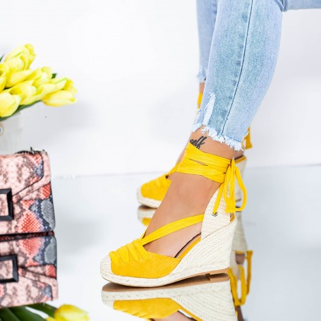 Sandale Dama cu Platforma LE222 Galben Mei