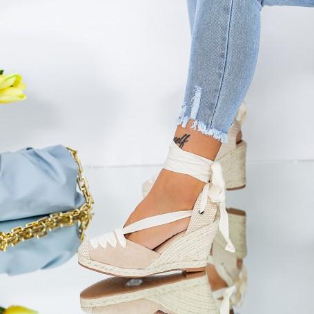 Sandale Dama cu Platforma LE222 Bej Mei