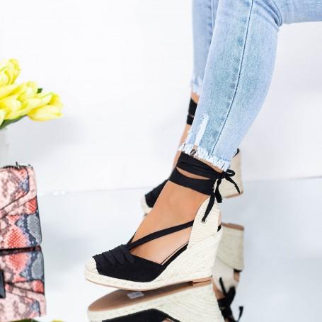 Sandale Dama cu Platforma LE222 Negru Mei