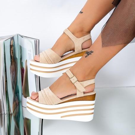 Sandale Dama cu Platforma LM312 Bej Mei