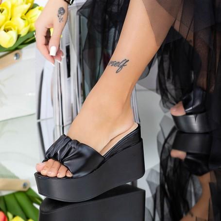 Papuci Dama cu Platforma LM316 Negru Mei