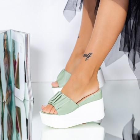 Papuci Dama cu Platforma LM316 Verde Mei