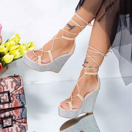 Sandale Dama cu Platforma XKK286 Bej Mei