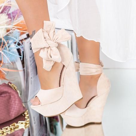 Sandale Dama cu Platforma XKK309 Bej Mei