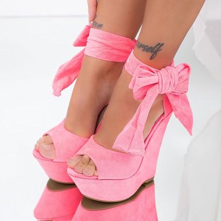 Sandale Dama cu Platforma XKK309 Roz Mei