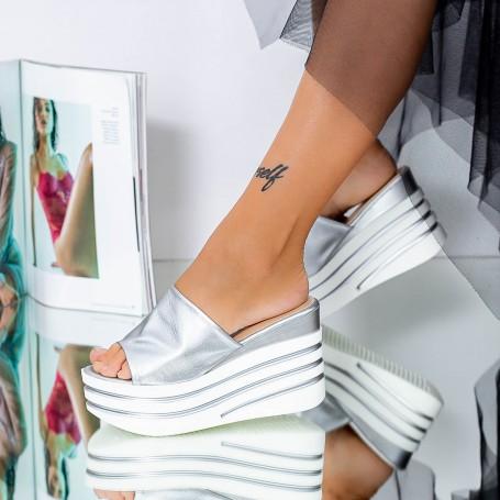 Sandale Dama cu Platforma LM309 Argintiu Mei