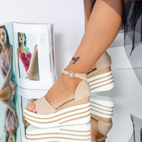 Sandale Dama cu Platforma LM311A Nude Mei