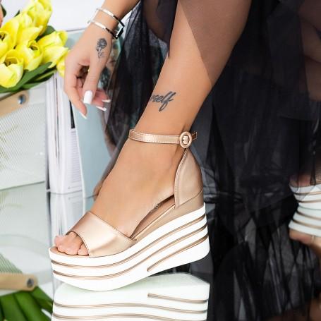 Sandale Dama cu Platforma LM311 Champagne Mei