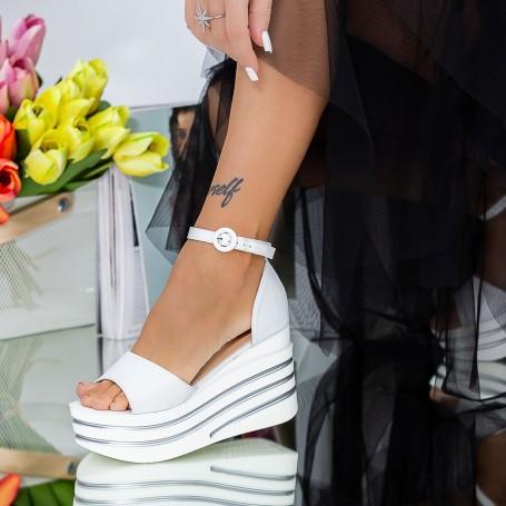 Sandale Dama cu Platforma LM311 Alb Mei