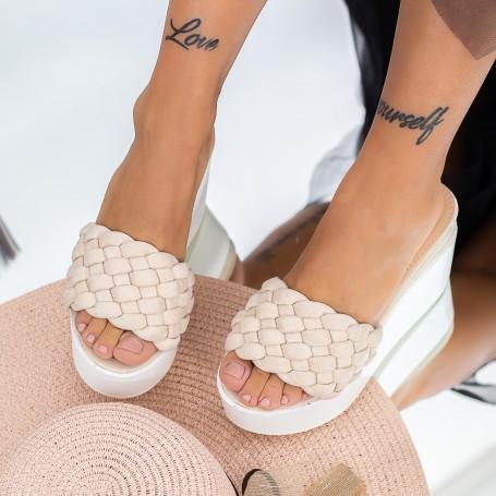 Papuci Dama cu Platforma LM317 Bej Mei