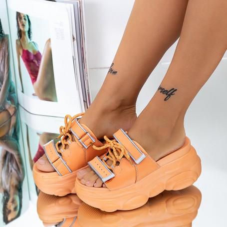 Papuci Dama cu Platforma WLGH33 Portocaliu Mei