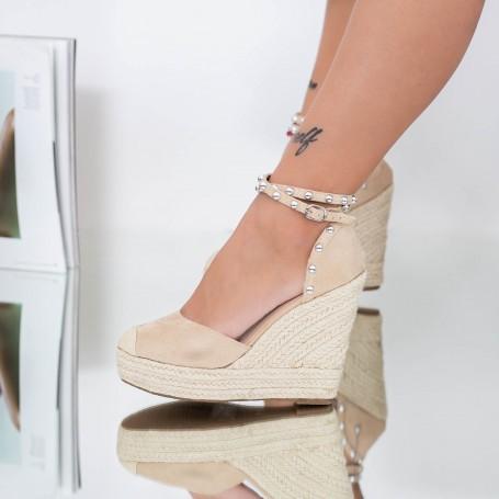 Sandale Dama cu Platforma FS36 Bej Mei