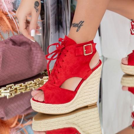 Sandale Dama cu Platforma HXS1 Rosu Mei