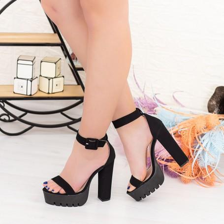 Sandale Dama cu Toc gros si Platforma LB1 Negru Mei