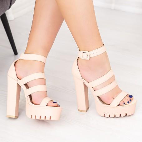 Sandale Dama cu Toc gros si Platforma LB2 Bej Mei