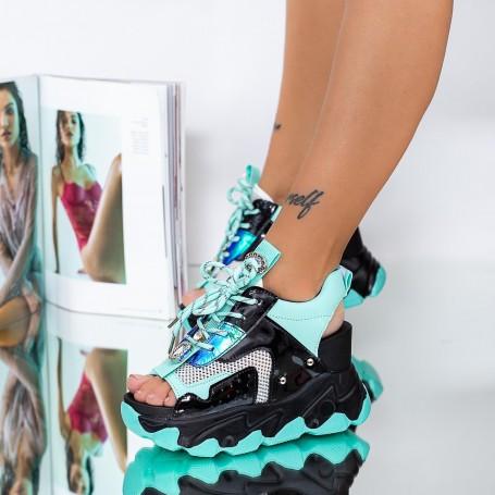 Sandale Dama cu Platforma WLGH51 Negru Mei