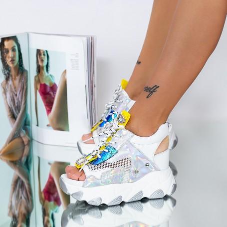 Sandale Dama cu Platforma WLGH51 Alb Mei
