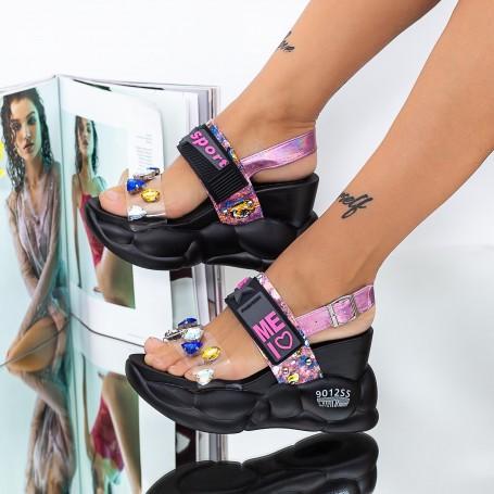 Sandale Dama cu Platforma WLJD2 Negru Mei