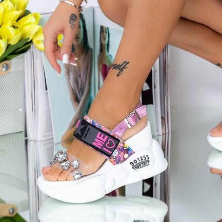 Sandale Dama cu Platforma WLJD2 Alb Mei