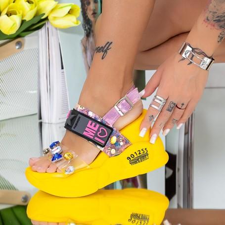 Sandale Dama cu Platforma WLJD2 Galben Mei