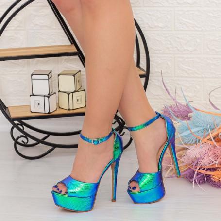 Sandale Dama cu Toc subtire si Platforma XKK207C Albastru Mei