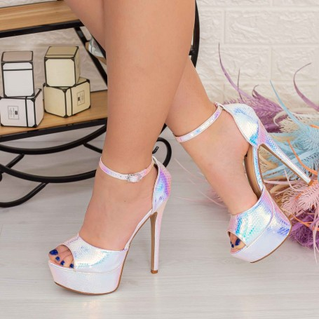 Sandale Dama cu Toc subtire si Platforma XKK207C Roz Mei
