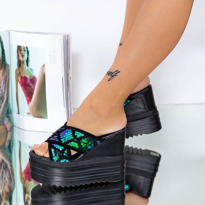 Papuci Dama cu Platforma XN37 Albastru Mei