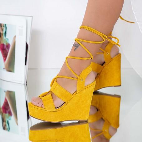 Sandale Dama cu Platforma XKK303 Galben Mei