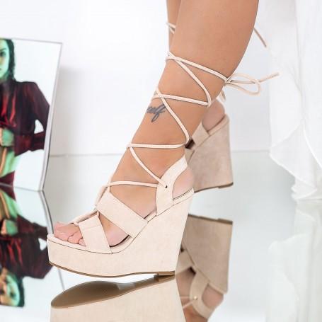 Sandale Dama cu Platforma XKK303 Bej Mei