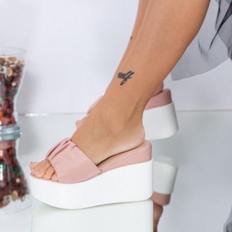 Papuci Dama cu Platforma LM316 Roz Mei