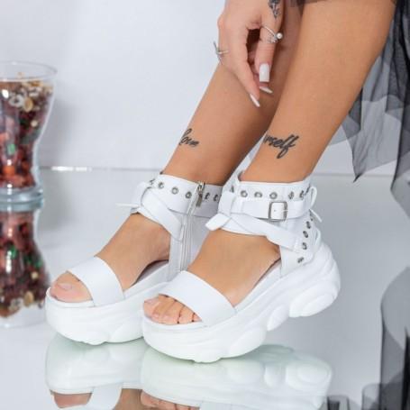 Sandale Dama cu Platforma WLJD3 Alb Mei