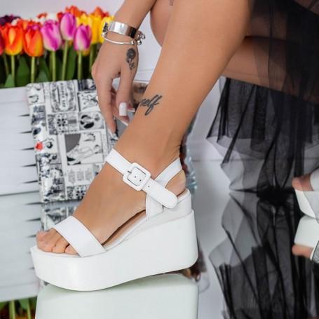 Sandale Dama cu Platforma LM295 Alb Mei