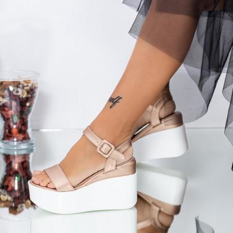 Sandale Dama cu Platforma LM295 Champagne Mei