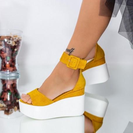 Sandale Dama cu Platforma LM296 Galben Mei