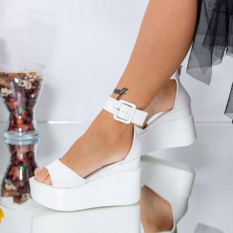 Sandale Dama cu Platforma LM296 Alb Mei