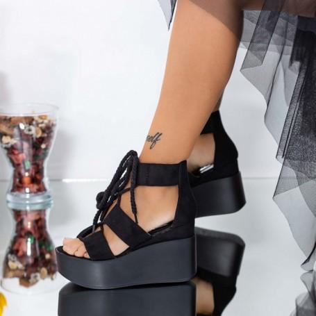 Sandale Dama cu Platforma LM301 Negru Mei