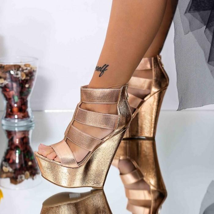 Sandale Dama cu Platforma XKK287 Champagne Mei