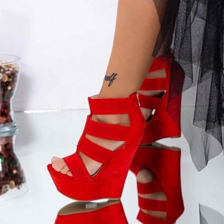 Sandale Dama cu Platforma XKK287 Rosu Mei
