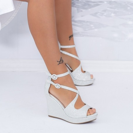 Sandale Dama cu Platforma TY10A Argintiu Mei